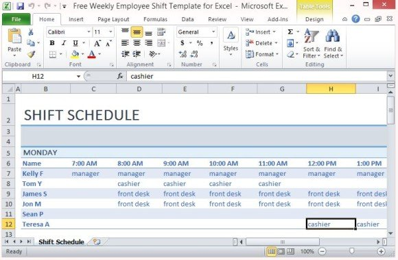 employee shift schedule template