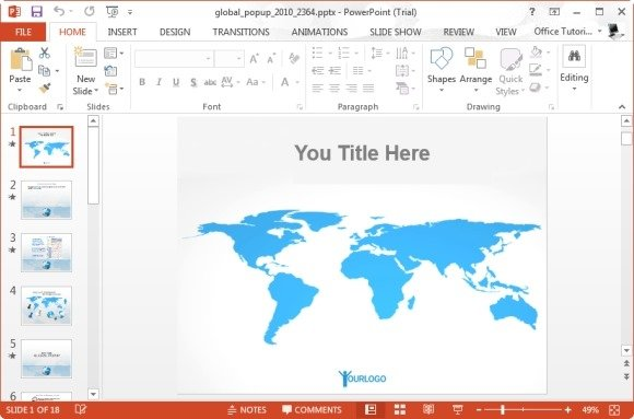 Animated flat map template for powerpoint global popup powerpoint template publicscrutiny Images