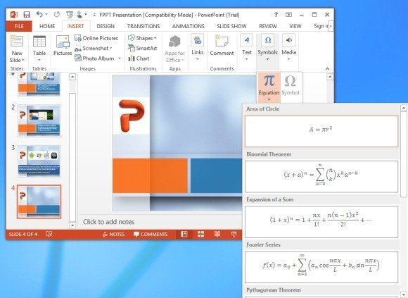 Preformatted Equations in PowerPoint