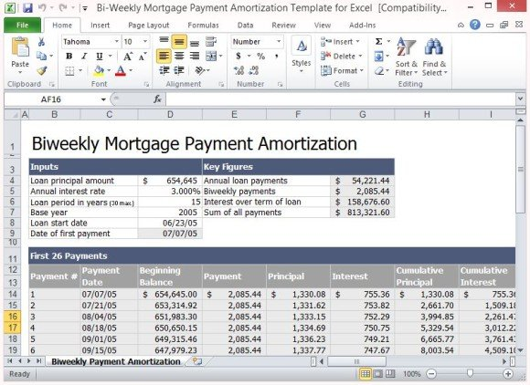 BiWeekly Mortgage Payment Amortization Template For Excel