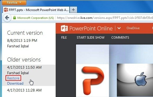 Recover PPT File Version