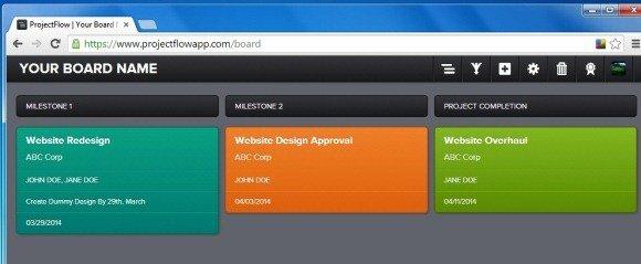 Sample ProjectFlow Board