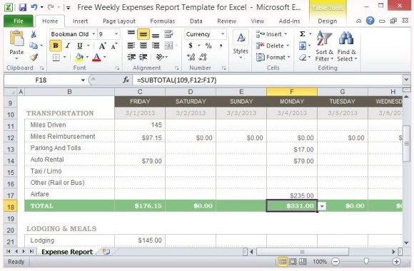 Standard But Flexible Format Can Easily Be Customized. This Free Weekly Expense  Report ...  Microsoft Expense Report Template