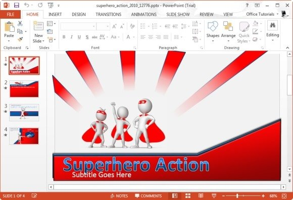 Best animated teamwork powerpoint templates superhero action powerpoint template toneelgroepblik Images