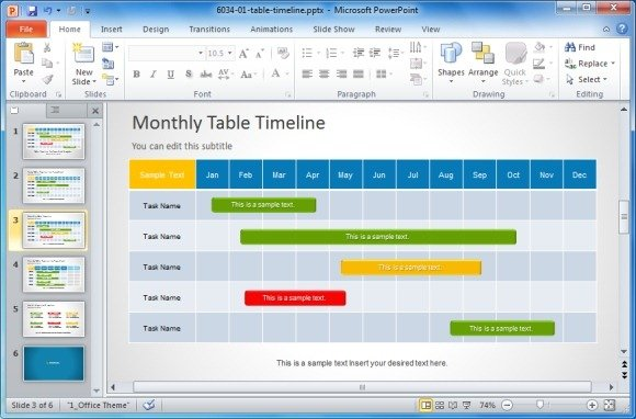 Project Management Templates For PowerPoint - Project plan and timeline template