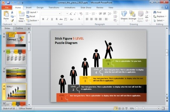 Animated Puzzle Pieces PowerPoint Template With Stick Figures