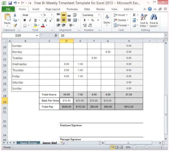 multiple employee timesheet template free - free bi weekly timesheet template for excel 2013