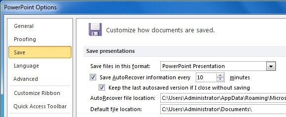 Use PowerPoint Auto Recover And Auto Save