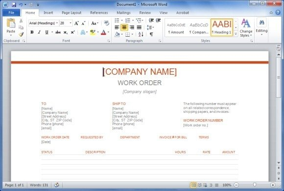 work order templates for word