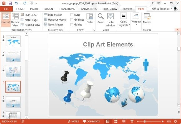Animated flat map template for powerpoint world map clipart images gumiabroncs Images