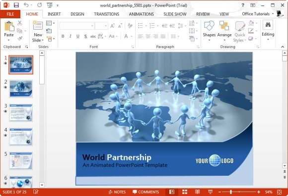 Best animated teamwork powerpoint templates world partnership powerpoint template toneelgroepblik Gallery