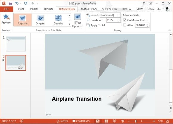 Airplane Transition Effect