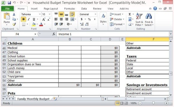 budget model template