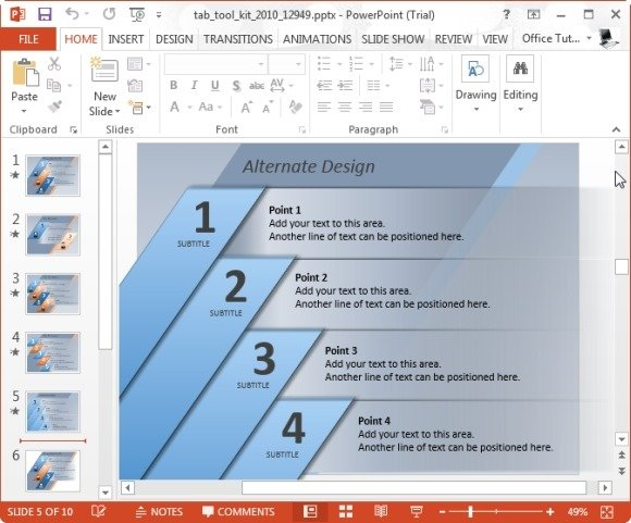 elegantly display bullet points with powerpoint tab toolkit template