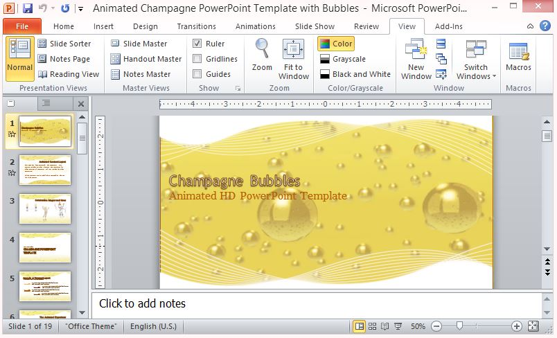 Animated champagne powerpoint template with bubbles toneelgroepblik Images