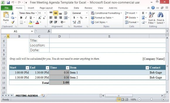Free Meeting Agenda Template For Excel