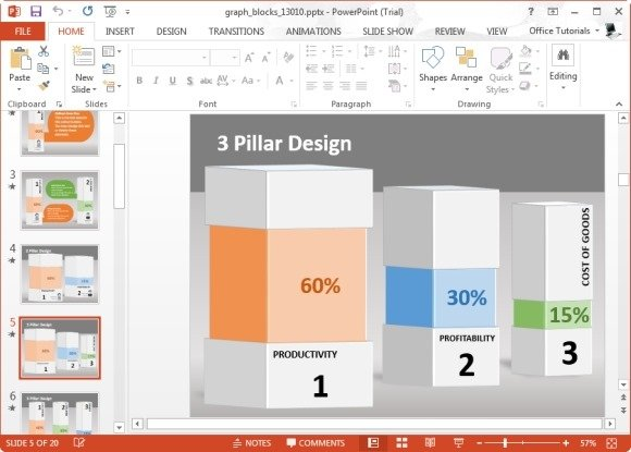 animated graph blocks template for powerpoint, Modern powerpoint