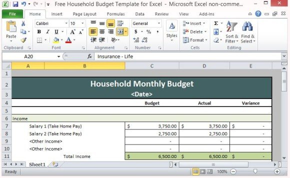 Free Household Budget Template For Excel