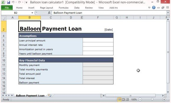 home loan excel template