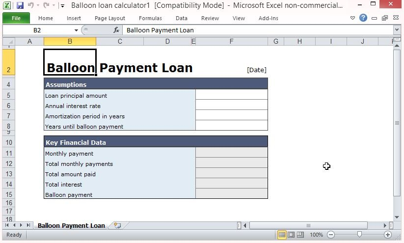 Free balloon payment excel template for Construction loan disbursement schedule