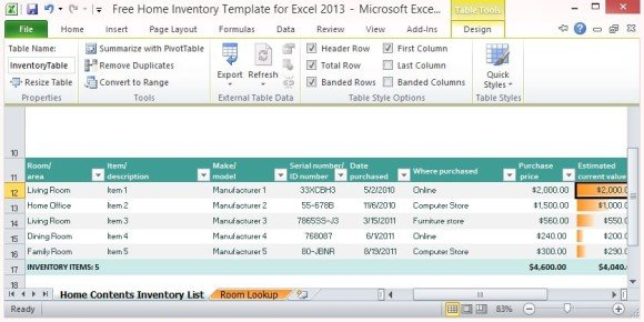 Free Home Inventory Template For Excel