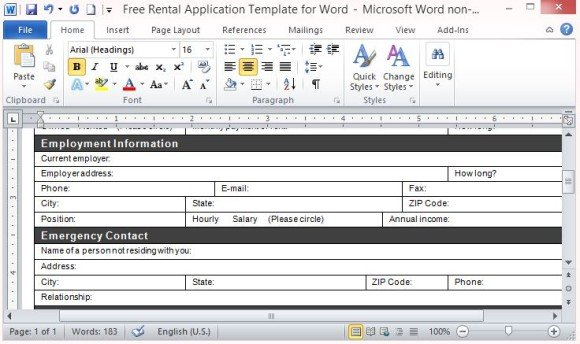free rental application template for word