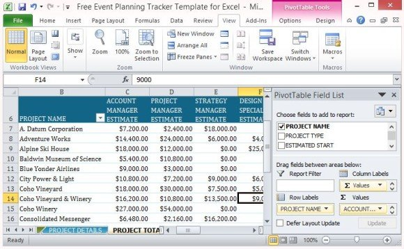 Free event planning tracker template for excel convenient pivot table for project totals wajeb Choice Image