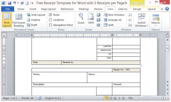 Free Receipt Template For Word With 3 Receipts Per Page
