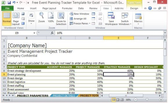 Free event planning tracker template for excel for Planning a conference template