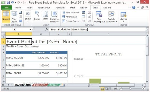Free Event Budget Template For Excel