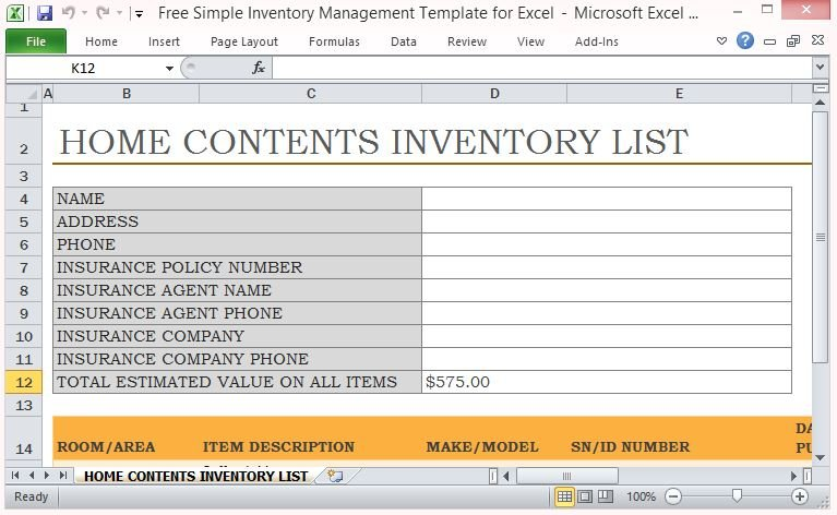 Simple Inventory Management Template For Excel