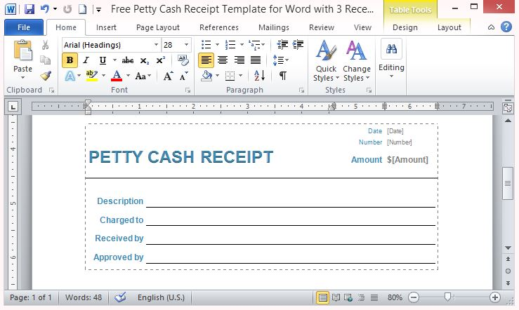 Petty Cash Receipt Template For Word With  Receipts Per Page