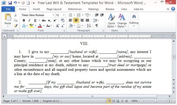 Free last will and testament template for word for Writing a will template free