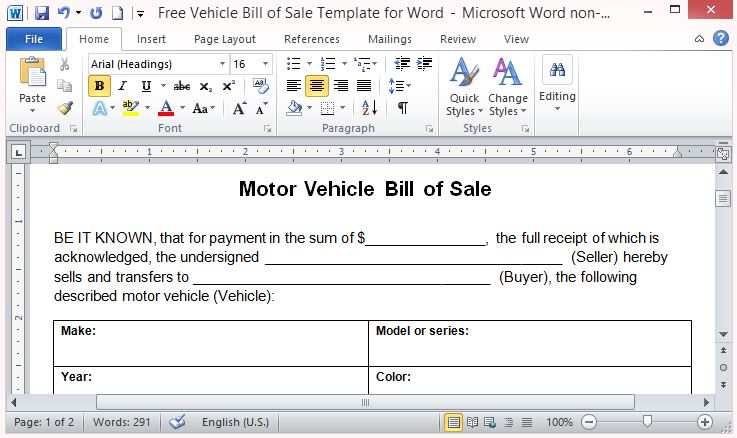 word bill of sale template