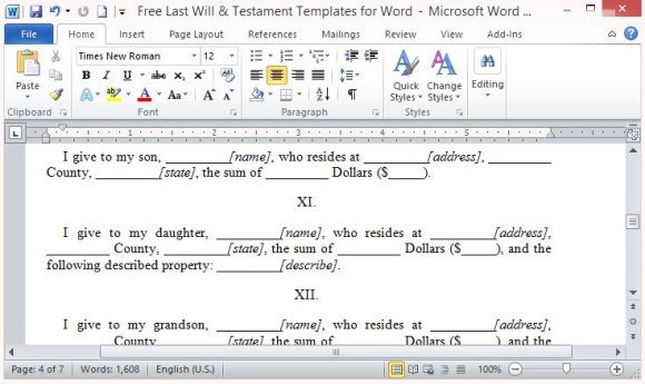 Free Last Will And Testament Template For Word - Last will and testament template microsoft word