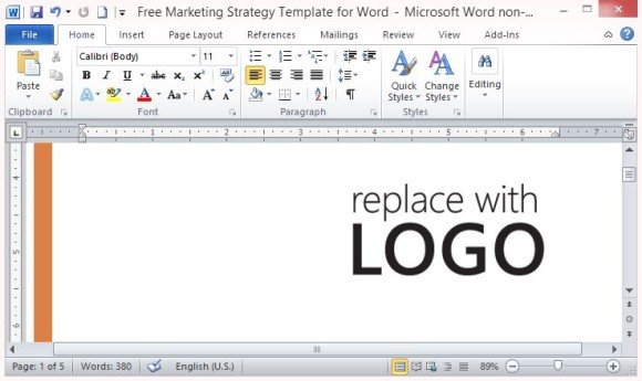 Marketing Strategy Template For Word