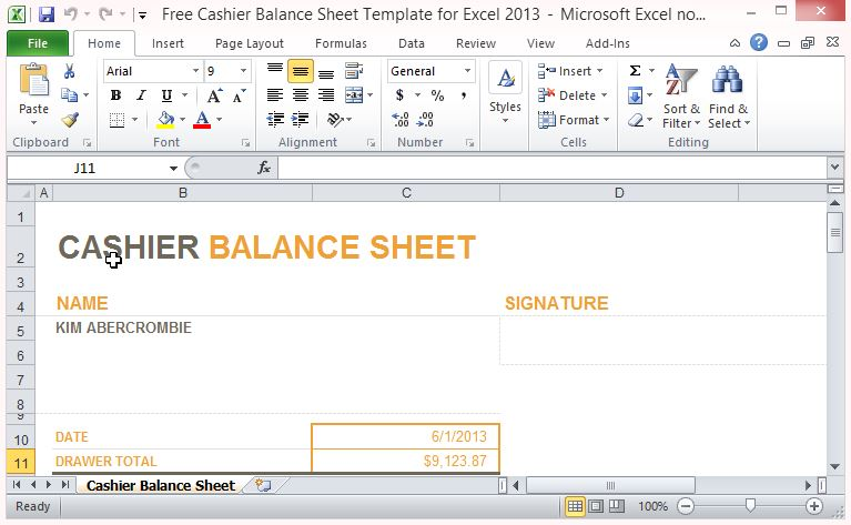 Free cashier balance sheet template for excel 2013 accmission