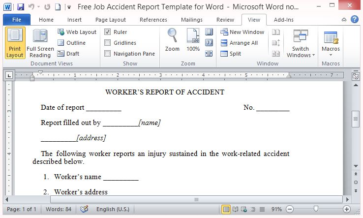 Free job accident report template for word friedricerecipe
