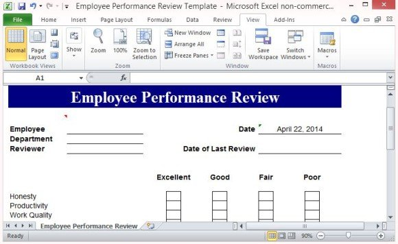 Free performance review template form for word 2007 for Quarterly employee review template