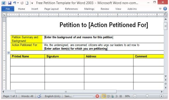 Free petition template for word for Petition template to print