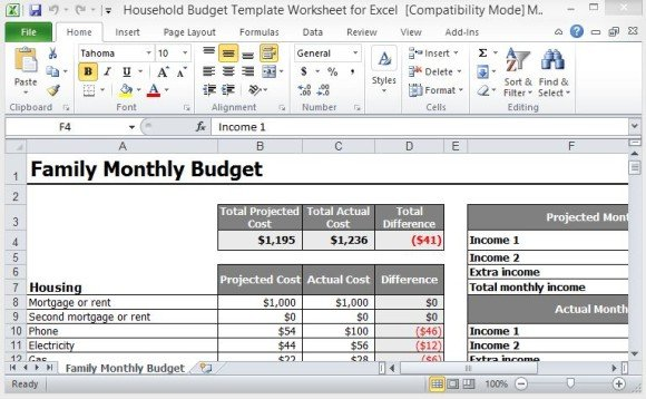 monthly household budget template