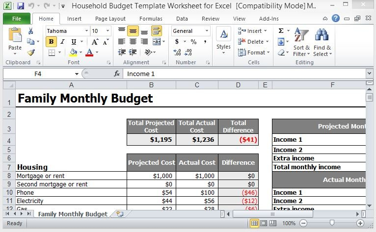 household budget template worksheet for excel. Black Bedroom Furniture Sets. Home Design Ideas