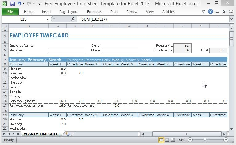 free employee time sheet template for excel 2013