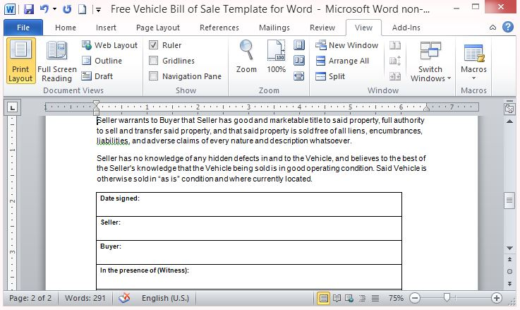 have a signed copy of the bill of sale after the transaction fppt