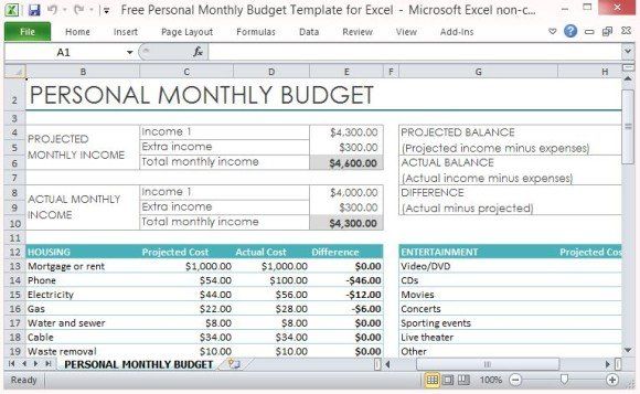 Free personal monthly budget template for excel for List of household expenses template
