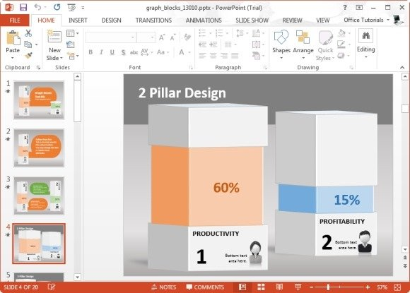 Animated graph blocks template for powerpoint for Block graph template
