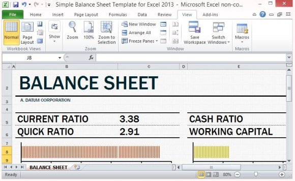 Simple Balance Sheet Template For Excel 2013 With Working Capital