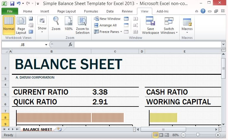 simple balance sheet template for excel 2013 with working