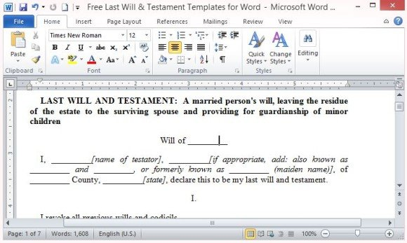 free last will and testament template microsoft word Free Last Will And Testament Template For Word