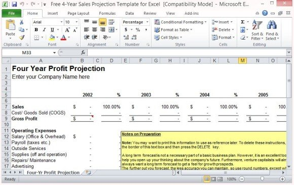 sale forecast template - free 4 year sales projection template for excel